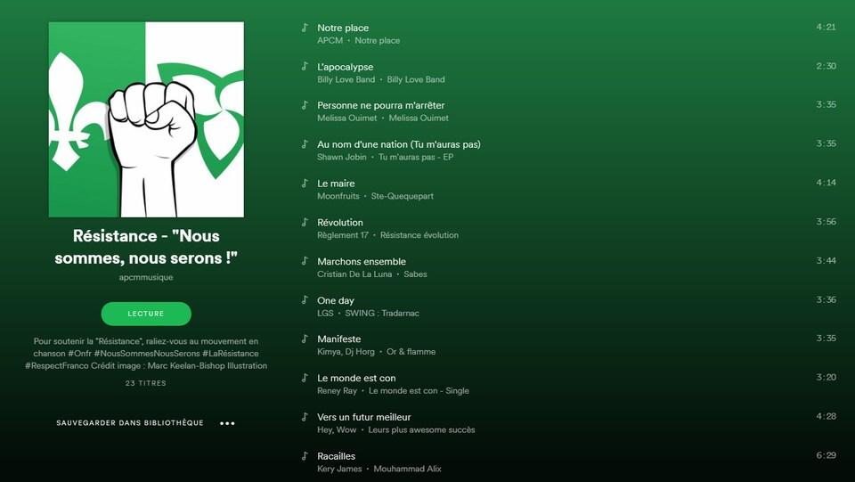 La liste de lecture Spotify de l'APCM «Résistance - «Nous sommes, nous serons !»