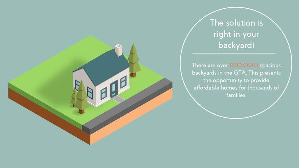 Illustration d'une maison unifamiliale accompagnée de 3 arbres et un terrain.