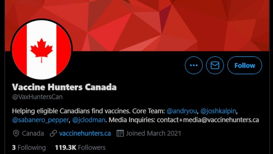 Une image de la page Twitter du groupe Vaccine Hunters Canada
