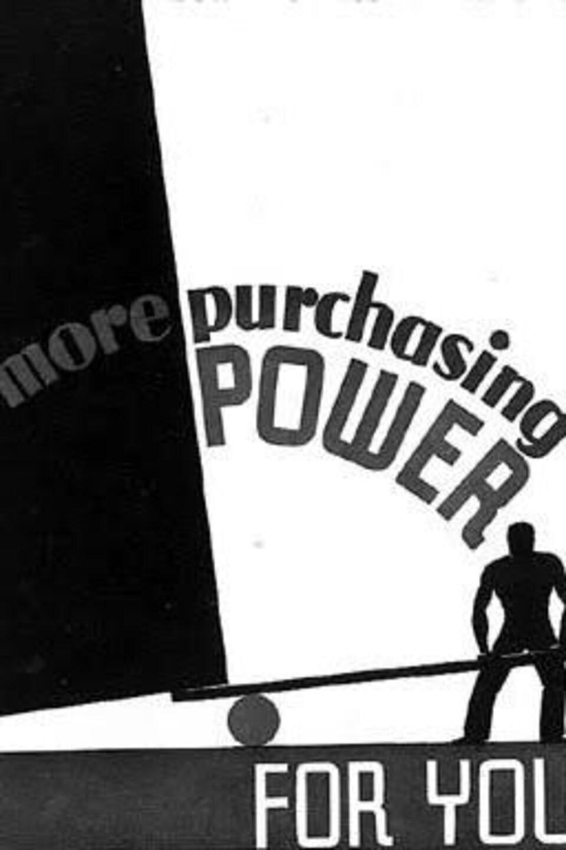Une illustration en noir et blanc avec les mots : More purchasing power.