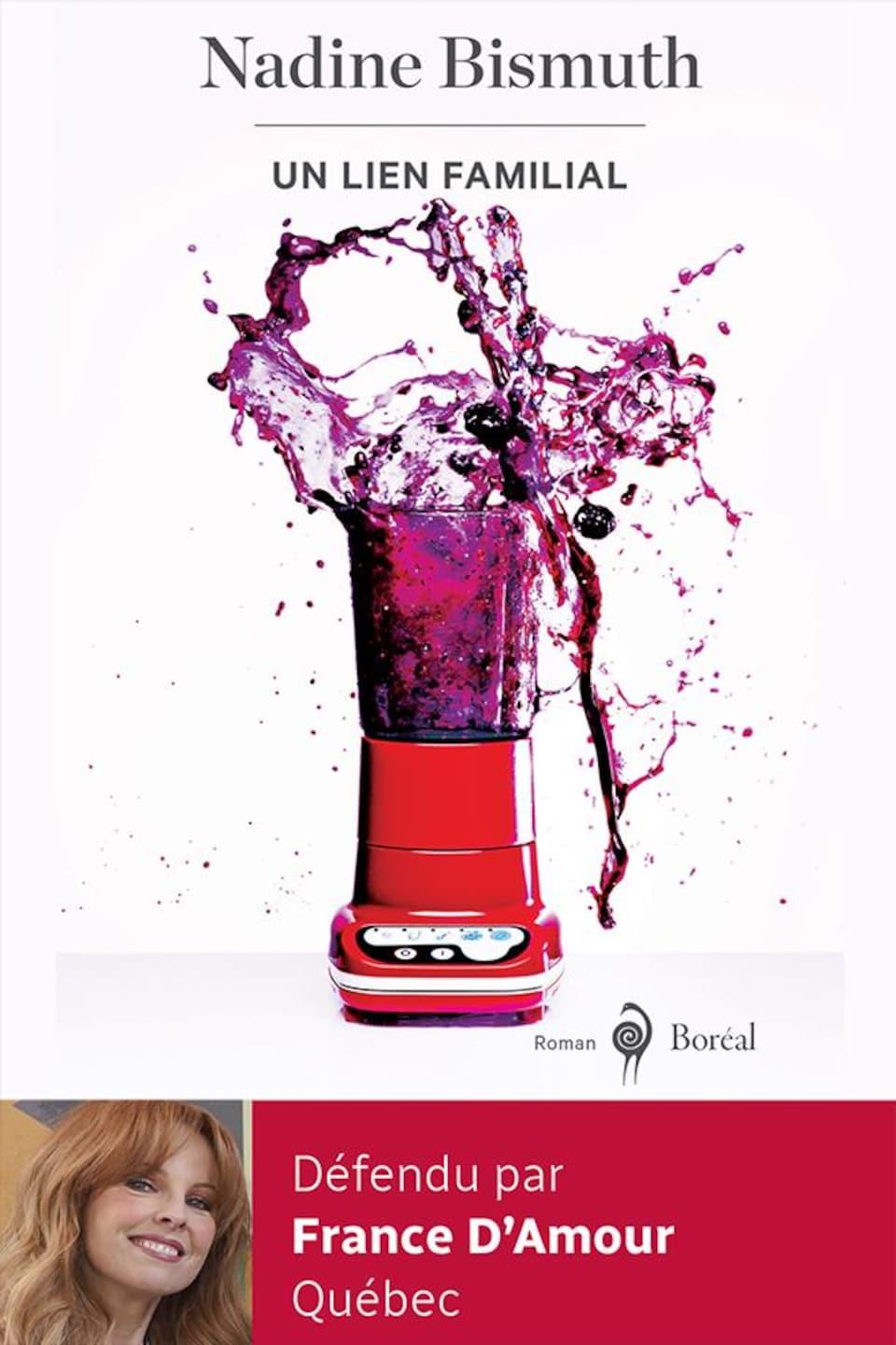 La couverture du ivre représente un appareil mélangeur dont le  contenu, un liquide violet, gicle en l'air.