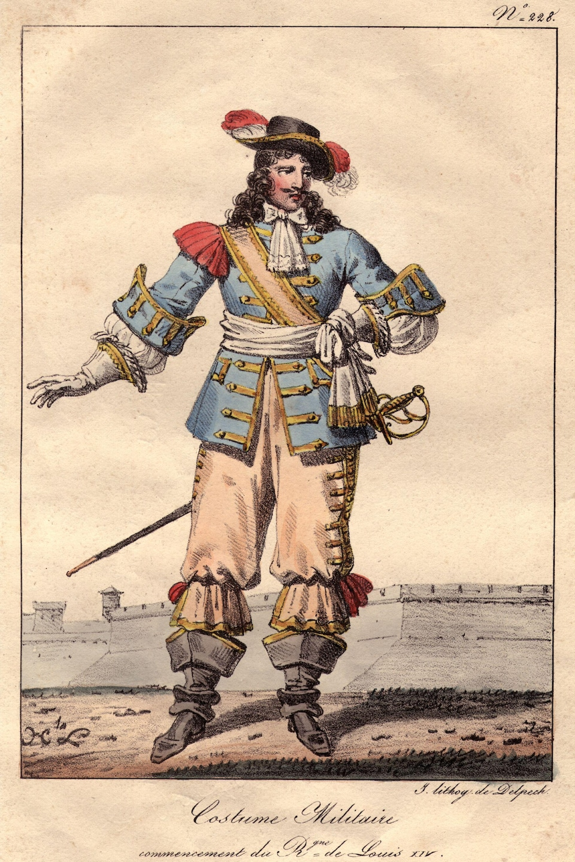 Vers 1670, un homme porte le costume militaire sous Louis XIV.