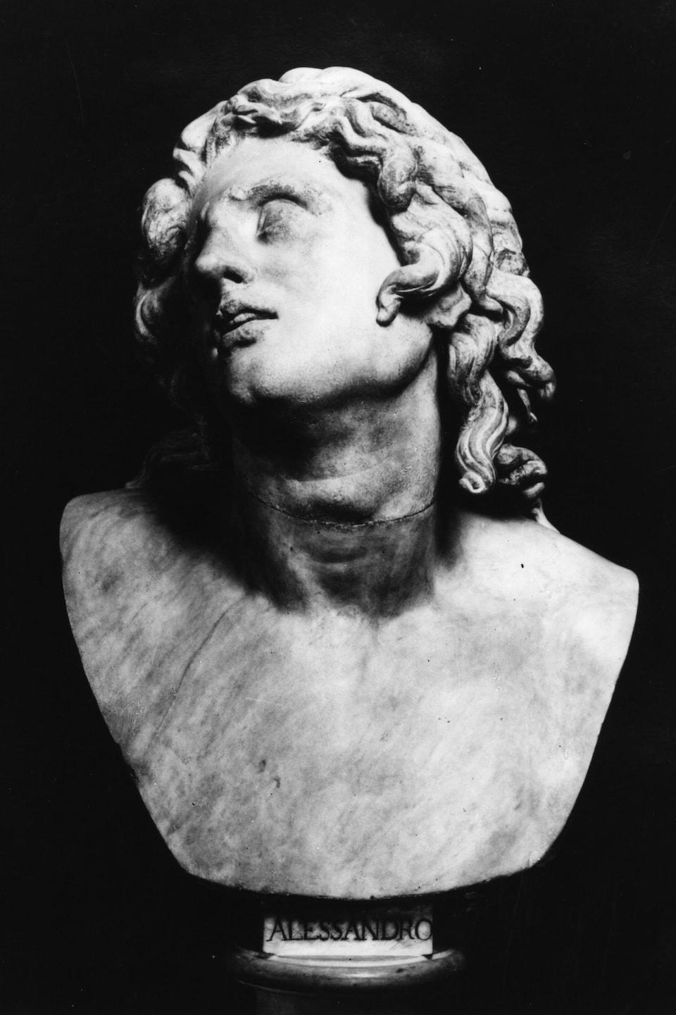 Buste d'Alexandre le Grand portant le nom « Alessandro » au bas.