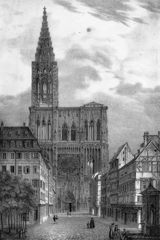 Une gravure en noir et blanc de la cathédrale de Strassbourg au 14e siècle