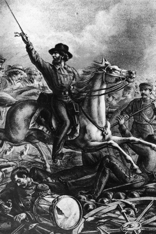 Gravure représentant Garibaldi, sur son cheval, en train de combattre à Rome.