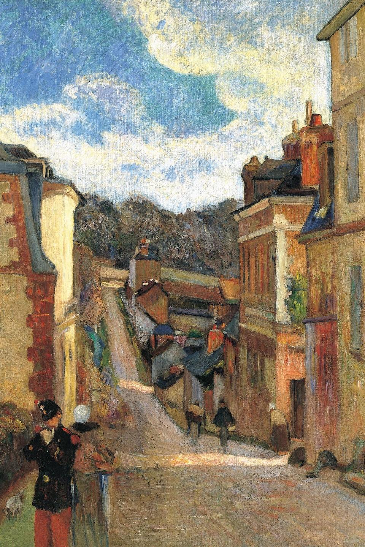Peinture intitulée <i>Rue Jouvenet à Rouen</i> (1884), de Paul Gauguin. Source : Wikipédia