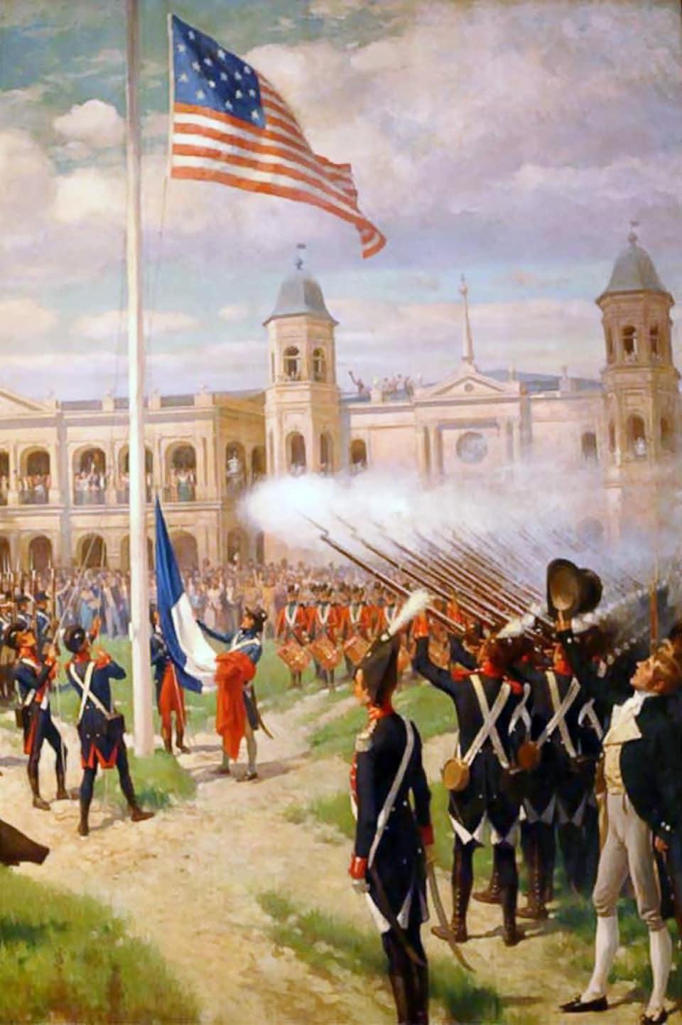 Première levée du drapeau américain sur la Place d'Armes de La Nouvelle-Orléans, le 10 mars 1804.