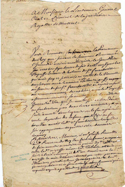 Une page dossier de la poursuite contre Marie-Josèphe-Angélique, daté du 11 avril 1734.