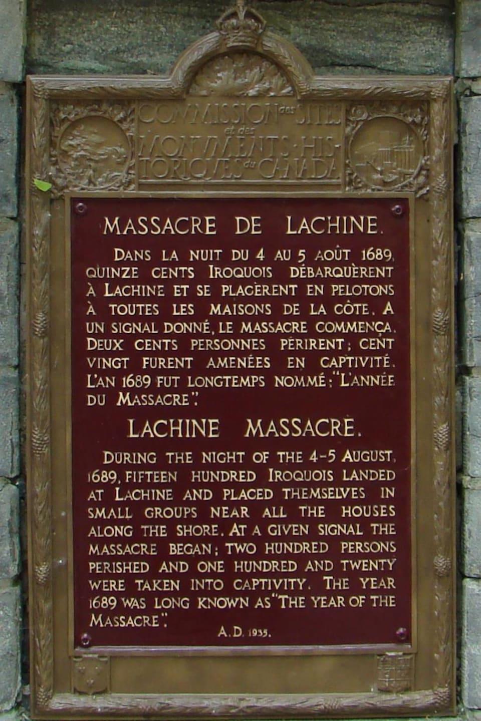 Plaque commémorative du massacre de Lachine.
