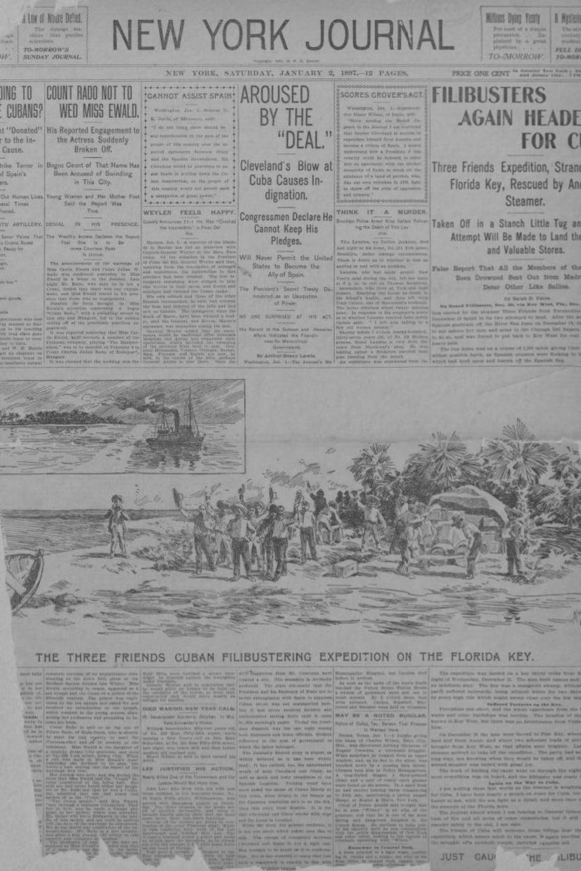 Page frontispice du New York Journal du 2 janvier 1897.