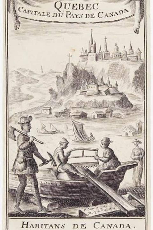 Des colons construisent une embarcation avec, en arrière-plan, la ville de Québec sur cette gravure représentant la vie en Nouvelle-France.