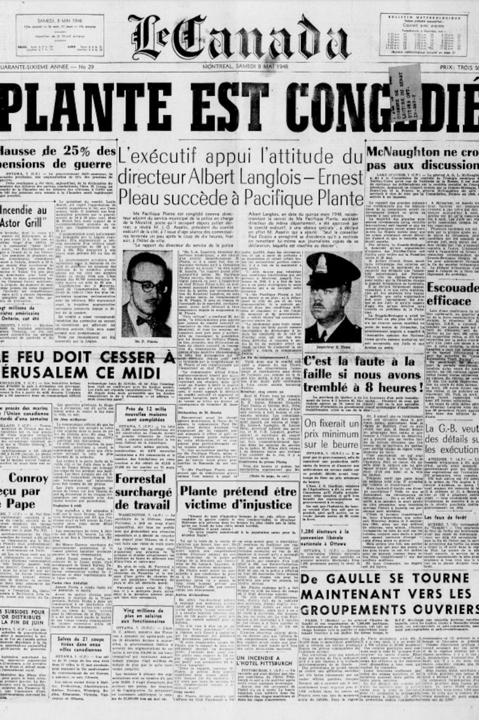 Une du journal Le Canada du 8 mai 1948, annonçant le congédiement de Pacifique Plante.