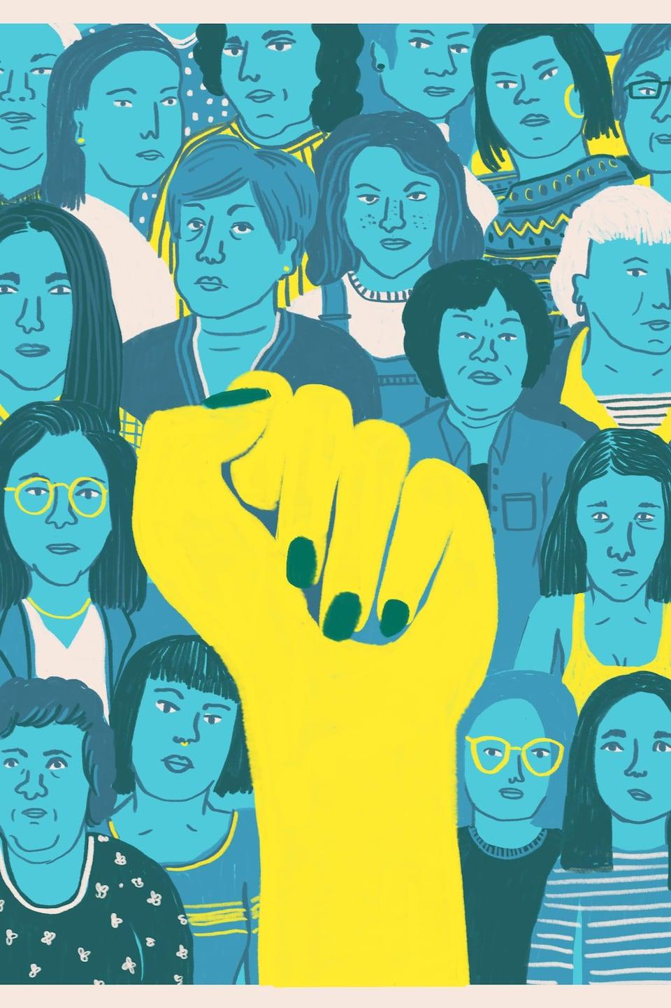Un point fermé comme symbole de solidarité avec les femmes autochtones.