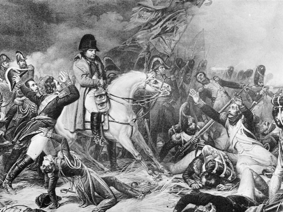 La retraite de Napoléon à la bataille de Waterloo, telle qu'illustrée par le peintre Steuben.