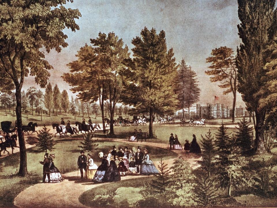 Une illustration de Central Park vers 1875 où des citadins, des carrosses et des chevaux animent la scène.
