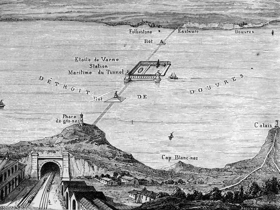 Un dessin de tunnel sous-marin entre deux rives.