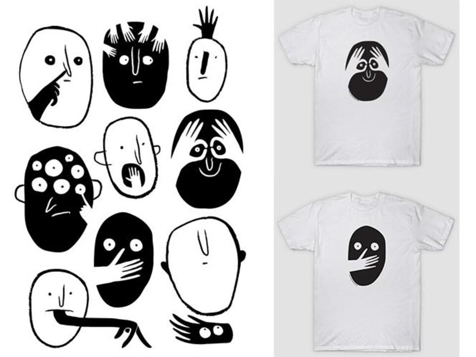 Des dessins en noir et blanc.