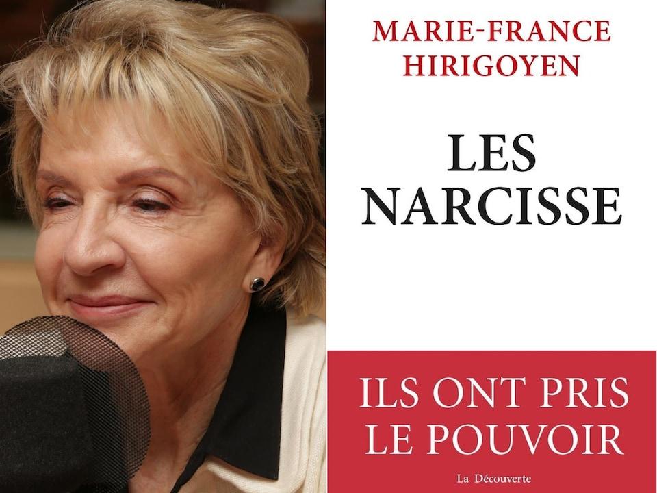 Photo de Marie-France Hirigoyen et couverture de son livre Les Narcisse.