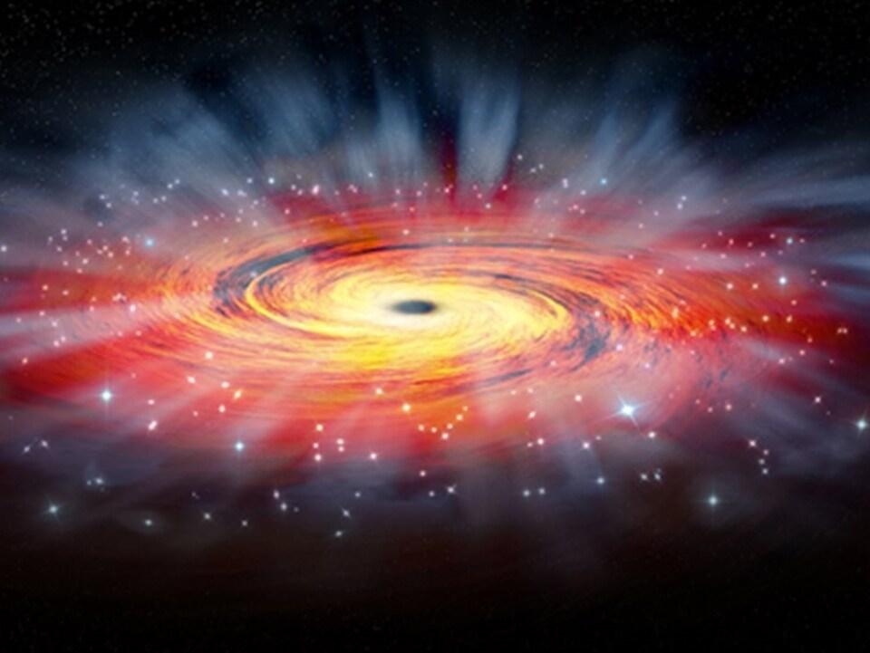 Représentation artistique du trou noir associé à la radiosource Sagittarius A*.