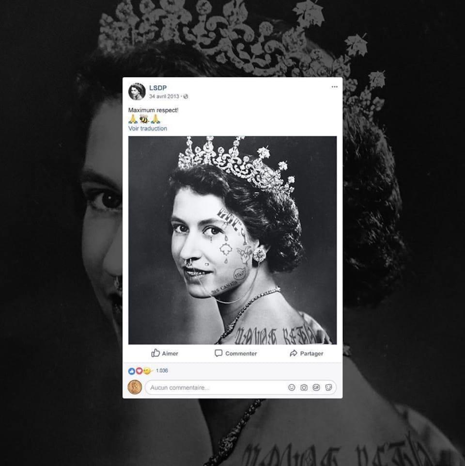 Sur la couverture de l'album <i>Le sens des paroles</i> d'Alaclair Ensemble apparaît un portrait de la Reine Elizabeth II retouché en noir et blanc sur lequel elle porte tatouages et perçages.