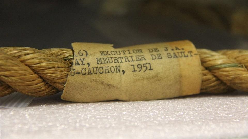 Détail de la corde de pendaison ayant servi à la mise à mort d'Albert Guay.