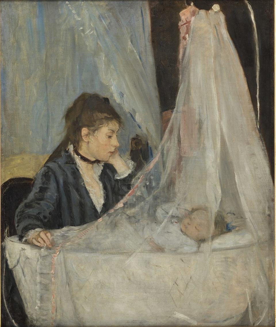 Berthe Morisot, Le Berceau, 1872. Huile sur toile, 56 x 46 cm. Musée d'Orsay, acquis par le Louvre (1930). On y voit une femme veillant sur son enfant qui est couché dans son berceau.