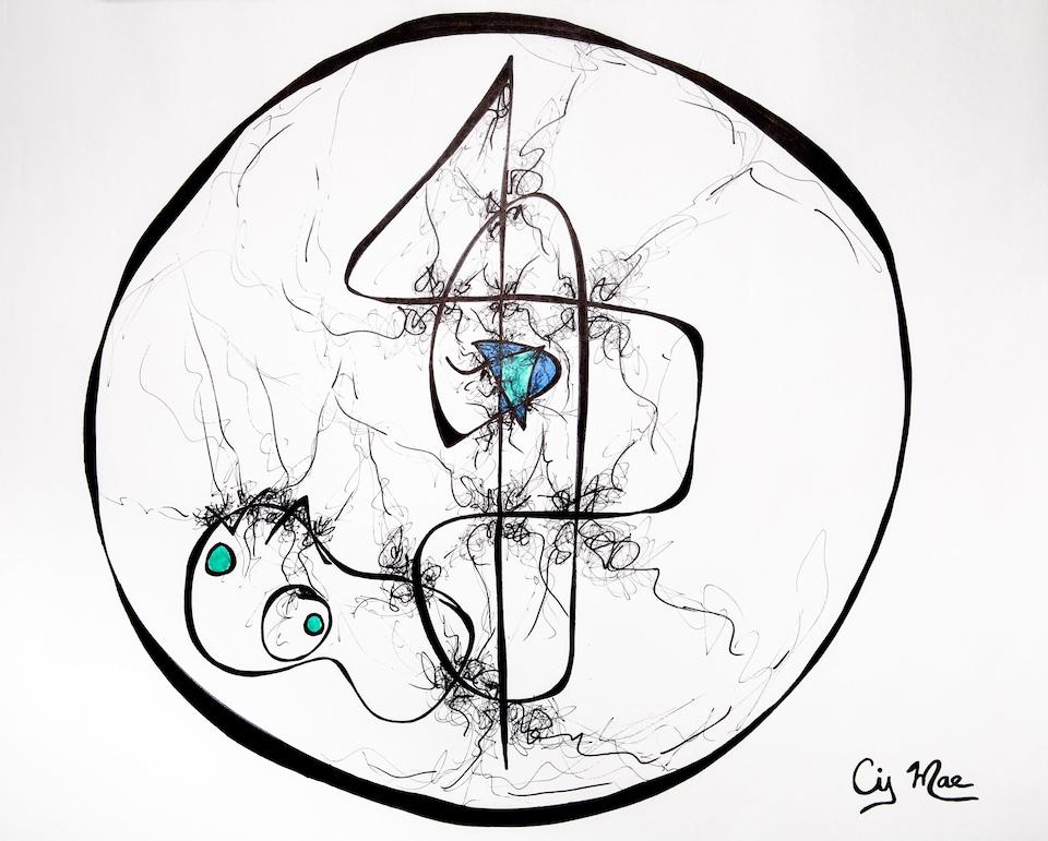 Dessin signé Cindy Mae Arsenault, tiré de l'exposition A U R A