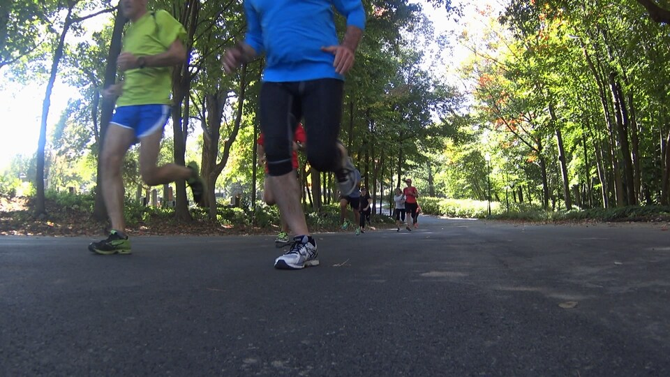 Course à pied sur un sentier dans un parc