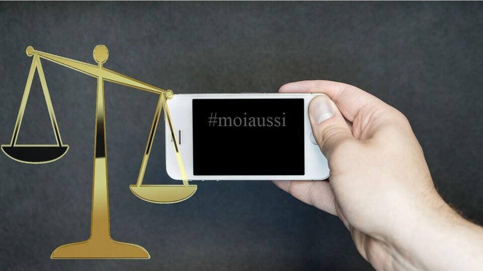 Une balance représentant la justice et un téléphone cellulaire où il est indiqué #MoiAussi