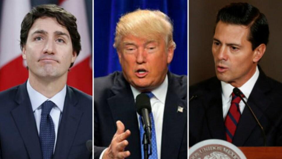 De gauche à droite, Justin Trudeau, Donald Trump et Enrique Pena Nieto