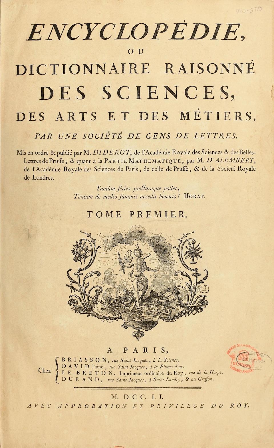 Une page couverture jaunie du livre Encyclopédie ou dictionnaire raisonné des sciences, des arts et des métiers