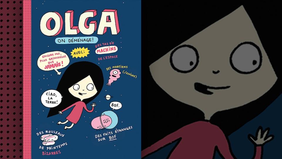Détail de la couverture du livre «Olga : on déménage!» d'Élise Gravel : illustration représentant une petite fille dans l'espace entourée de phylactères et de petites créatures bizarres.