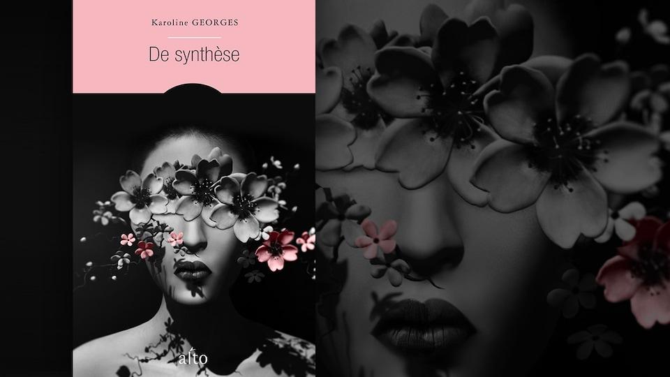 La couverture du livre «De synthèse» de Karoline George : le visage d'un avatar numérique féminin caché en partie par des fleurs.