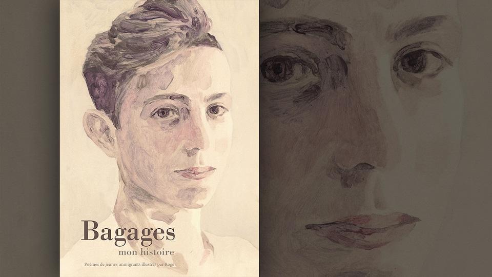 La couverture du livre «Bagages, mon histoire. Poèmes de jeunes immigrants illustrés par Rogé» : le portrait du visage d'un jeune garçon de trois-quart.