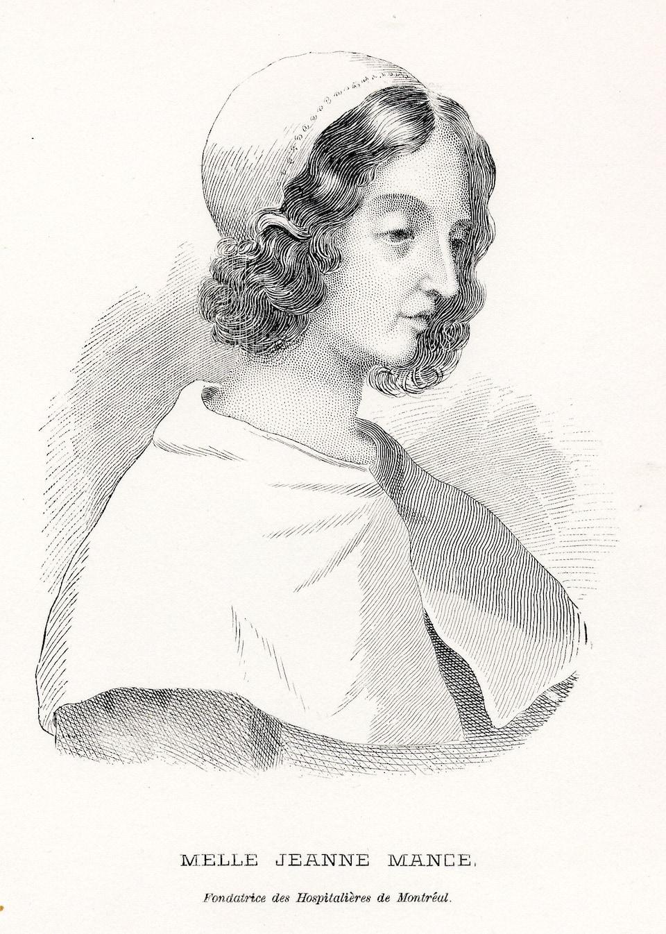 Gravure représentant Jeanne Mance