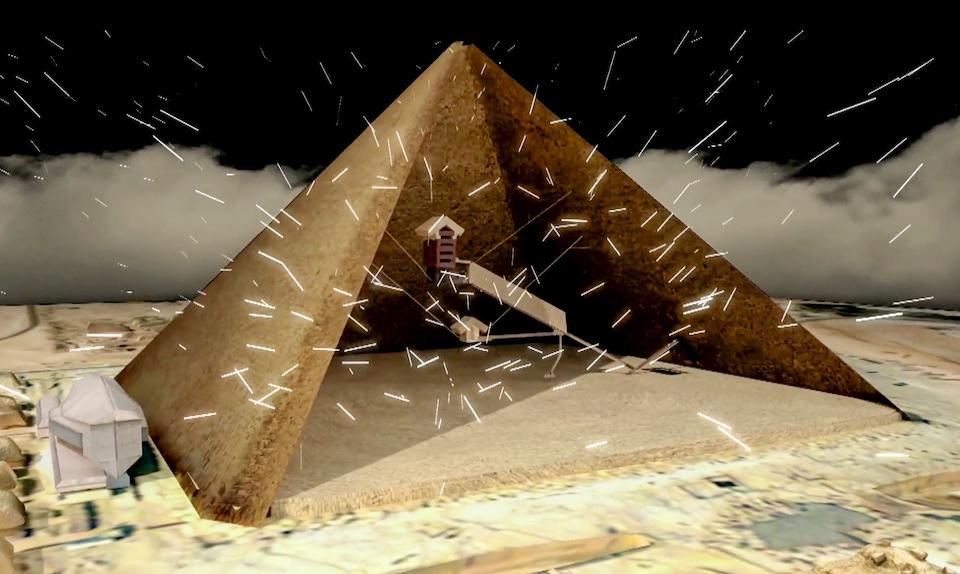 Représentation artistique de la pyramide de Khéops et de la salle découverte.