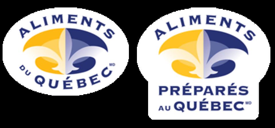 Sur un logo on lit Aliments du Québec et sur l'autre on lit Aliments préparés au Québec.