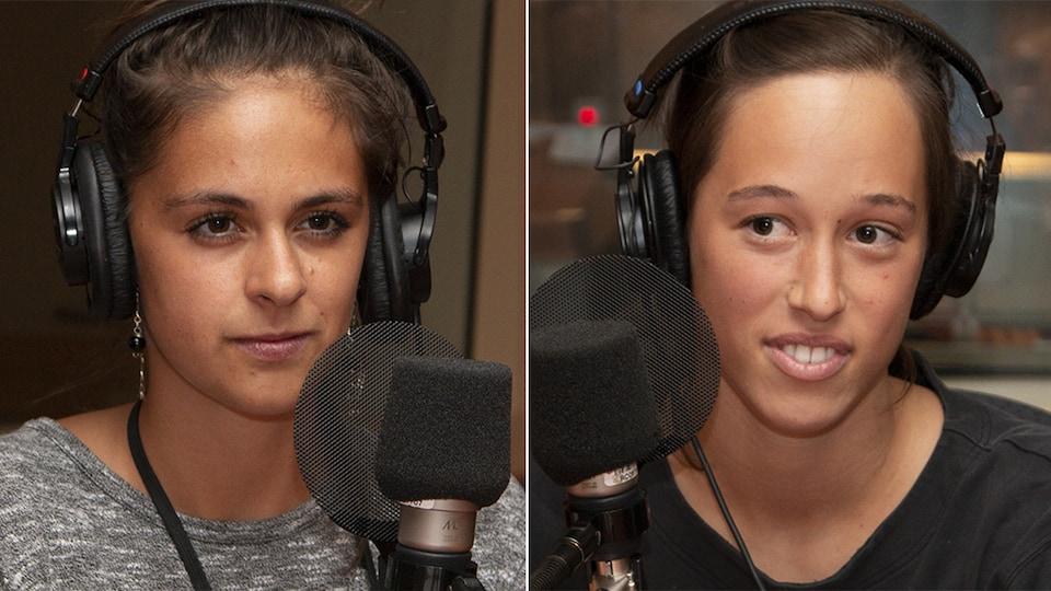 Camille Campeau et Marie Kirouac Poirier interviewées par Karyne Lefebvre au studio 18 de Radio-Canada, à Montréal, le 7 août 2018.