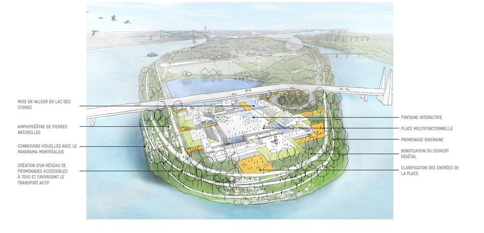 Image montrant la Place des Nations vue de très haut.