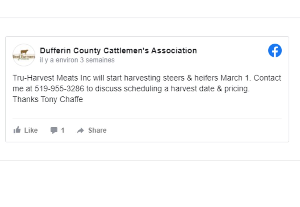 Une publication Facebook sur la page du groupe Dufferin County Cattlemen's Association.