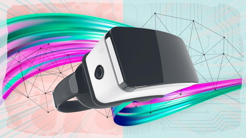 Un casque de réalité virtuelle devant un faisceau de peinture.