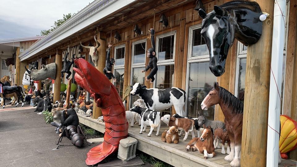 Le propriétaire de Ben Lalen, Benoit Thibodeau peut mouler à peu près n'importe quoi : orignal, homard, Obélix, tête de rhinocéros, cornet de crème glacée, pomme géante, etc.
