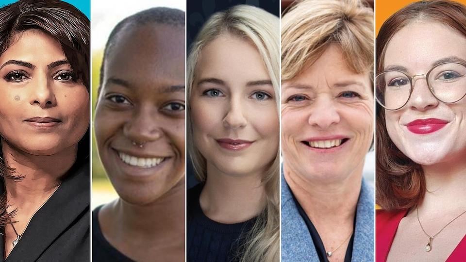 Les cinq candidates aux élections fédérales à Sherbrooke.
