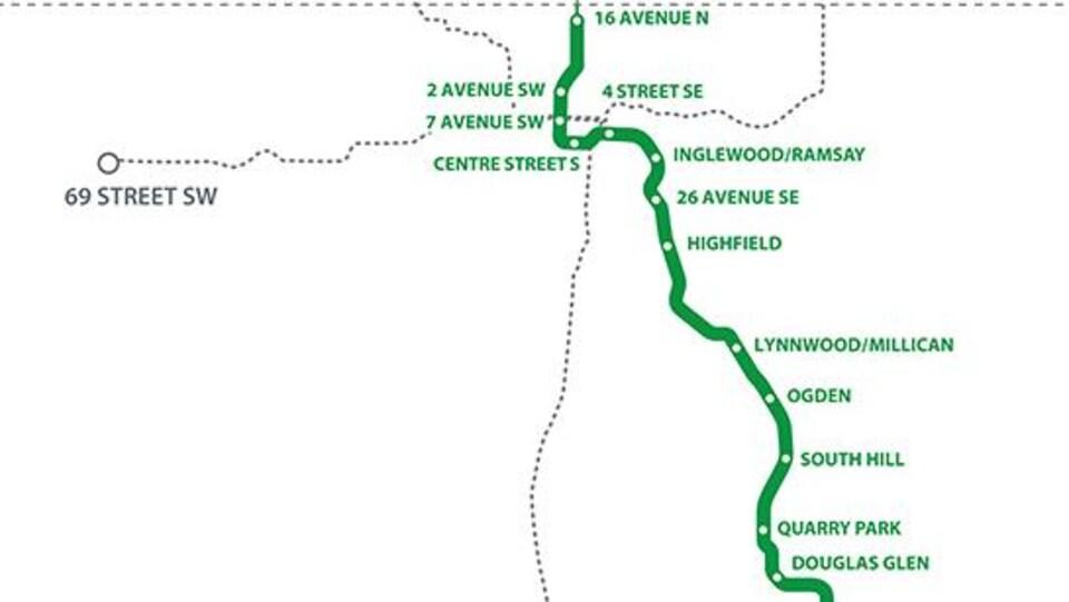 Une carte montrant les différentes stations de la ligne verte.