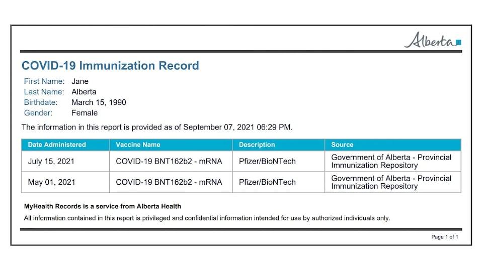 Une copie du certificat de vaccination annoncé par le gouvernement provincial.