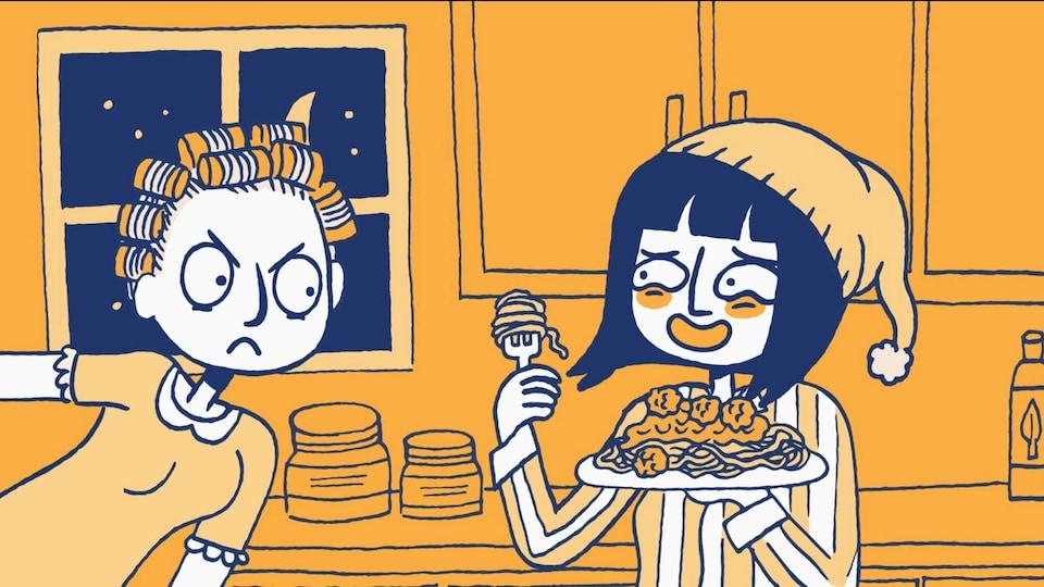 Une illustration montre une femme en pyjama manger un spaghetti devant une autre femme visiblement irritée.