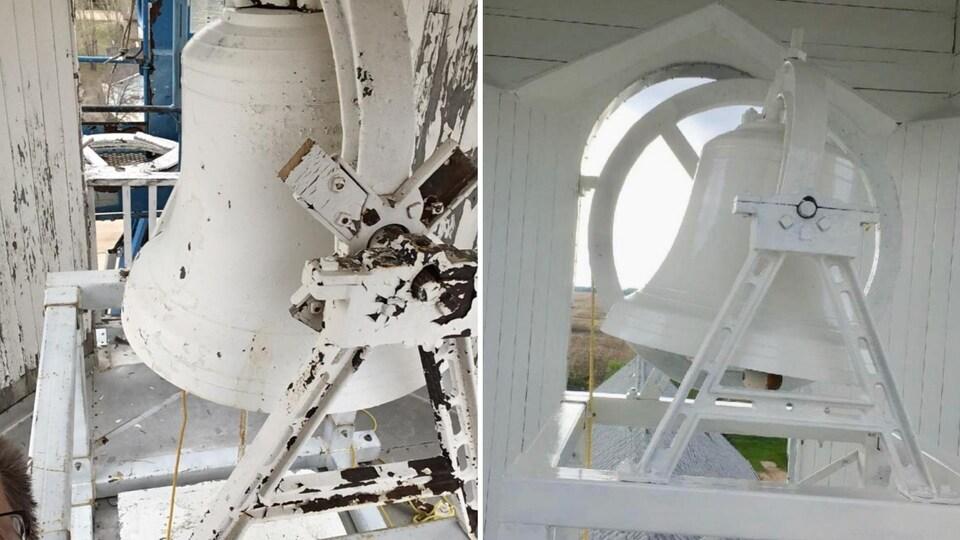 Le clocher de l'église avant et après les rénovations