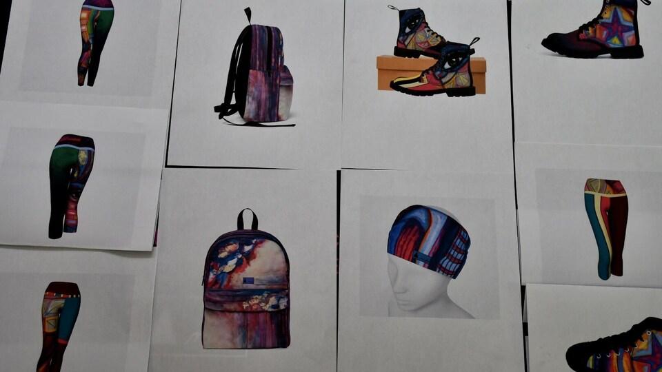 Des croquis des vêtements qui feront partie de la nouvelle collection.