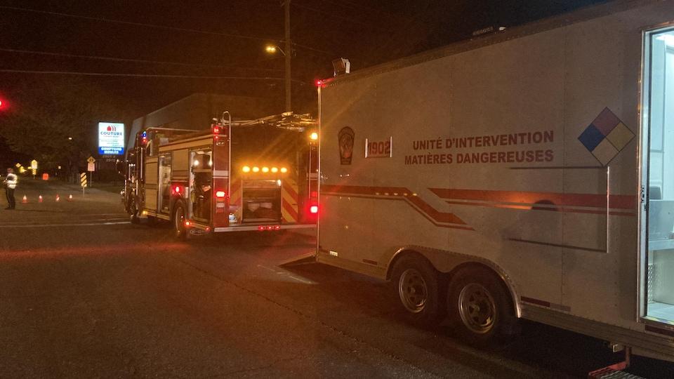Le camion de l'unité d'intervention des matières dangereuses du Service de prévention des incendies de Sherbrooke.