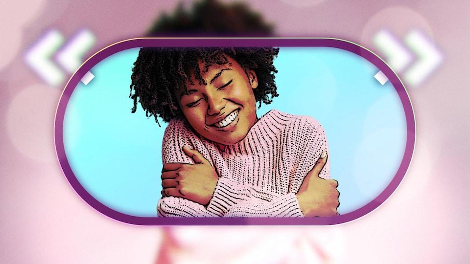 Illustration d'une femme souriante qui tient ses bras.